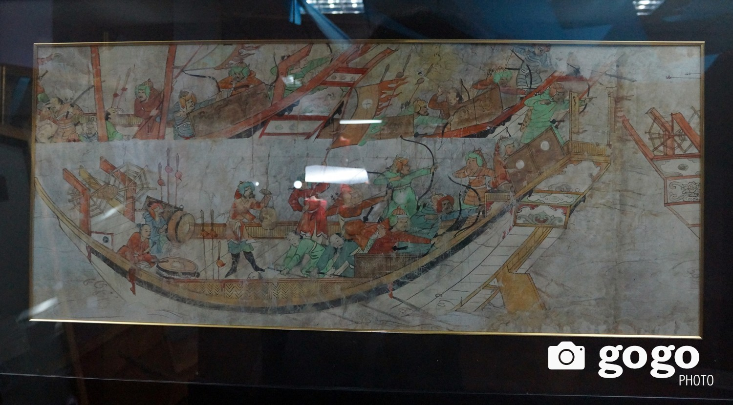 Drawing showing Mongolians' attack in 1293 /restored at Saitama's museum in 1819-1843/