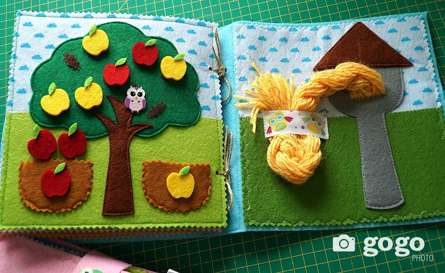 Apple tree helps children learn about subtraction and addition. In the yellow basket there are two apples, and on the tree there are three apples, how many in total etc. In the next page, you see Rapunzel that will help children braiding.