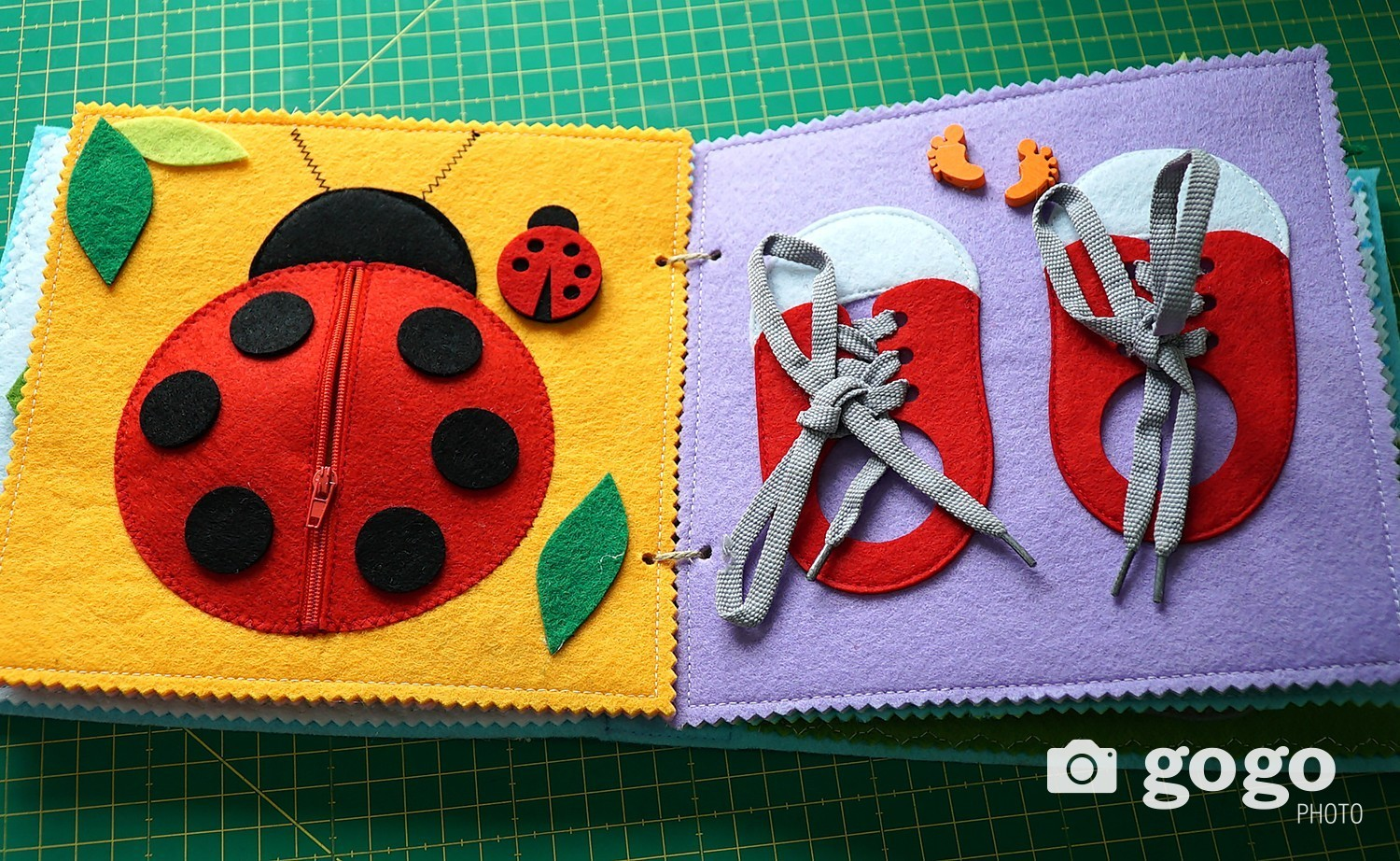 These ladybugs in a small pocket with zipper help children become more responsible for their possessions. There are six ladybugs and each has a dot representing its number. A child is supposed to learn counting, put them in order, and keep all in the pocket after. Zipper should help a child not to lose the ladybugs says Mungunsar.